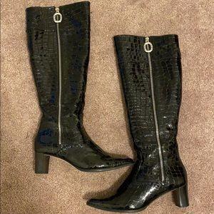 Brighton black crocodile boots 7.5M